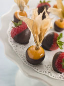 Chocolate Dipped Fruits — Stock Photo