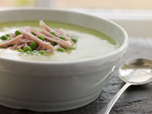 Bowl of Pea and Ham Soup — Stock Photo