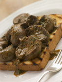 Devilled Lambs Kidneys on Toast — Stock Photo