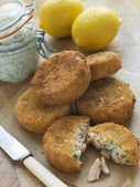 Cod and Salmon Fish Cakes with Tartar Sauce — Stock Photo