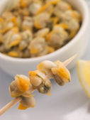 Pickled Cockles on a Cocktail Stick — Stock Photo