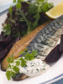 Smoked Mackerel Beetroot Salad with Horseradish Cream — Stock Photo