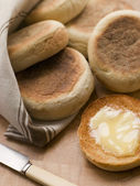 Toasted English Muffins with Butter — Stock Photo
