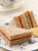 Smoked Salmon Sandwich on Brown Bread with Afternoon Tea — Stock Photo