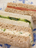 Afternoon Tea Finger Sandwiches- Egg and Cress Smoked Salmon and — Stock Photo
