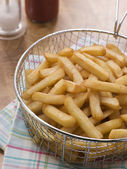 Chips in a Deep Frying Basket — Stock Photo