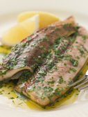 Loch Fyne Kippers Grilled with Parsley Butter — Stock Photo