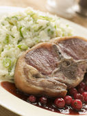 Double Loin Lamb Chops with Champ and Redcurrant Jus — Stock Photo