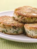 Plate of Bubble and Squeak cakes — Stock Photo