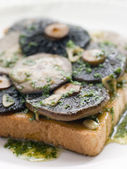 Garlic Field Mushrooms on Toast with Parsley Butter — Stock Photo