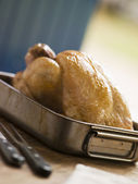 Roast Chicken in a Roasting Tray — Stock Photo