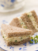 Egg and Cress Sandwich on Brown Bread with Afternoon Tea — Stock Photo