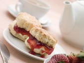 Scones Jam Clotted Cream and Strawberries with Afternoon Tea — Stock Photo