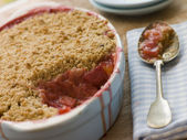 Dish of Rhubarb and Blood Orange Crumble — Stock Photo