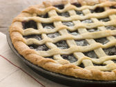 Hot Cherry Lattice Pie — Stock Photo