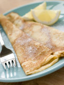 Folded Pancakes with Lemon and Sugar — Stock Photo