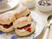 Scones Tea Clotted Cream and Jam — Stock Photo