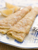 Plate of Folded Pancakes Lemon and Sugar — Stock Photo