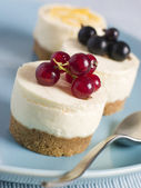 Trio of Individual Cheesecakes — Stock Photo