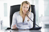 Businesswoman in office with personal organizer open on telephon — Stock Photo