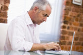 Businessman sitting in office typing on laptop — Stock Photo