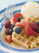 Sweet Waffles with Berries Ice Cream and Syrup — Stock Photo