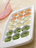 Pureed Baby Food in a Ice Cube Tray — Stock Photo