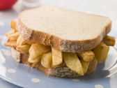 Chip Sandwich on White Bread — Stock Photo