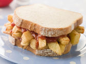 Chip Sandwich on White Bread with Tomato Ketchup — Stock Photo