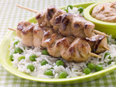 Chicken Satay Sticks with Peanut Butter Sauce and Fried Rice — Stock Photo