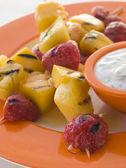 Caramelised Fruit Brochette with Honey Creme Fraiche — Stock Photo