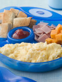 Scrambled Egg with Toast Ham and Cheese Squares — Stock Photo