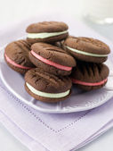 Chocolate Kiss Biscuits filled with Peppermint Cream — Stock Photo