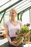 Woman in greenhouse holding basket of vegetables smiling — Stock Photo