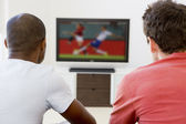 Two men in living room watching television — Stock Photo