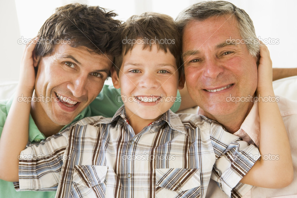 Grandfather with son and grandson smiling  Stock Photo #4763499