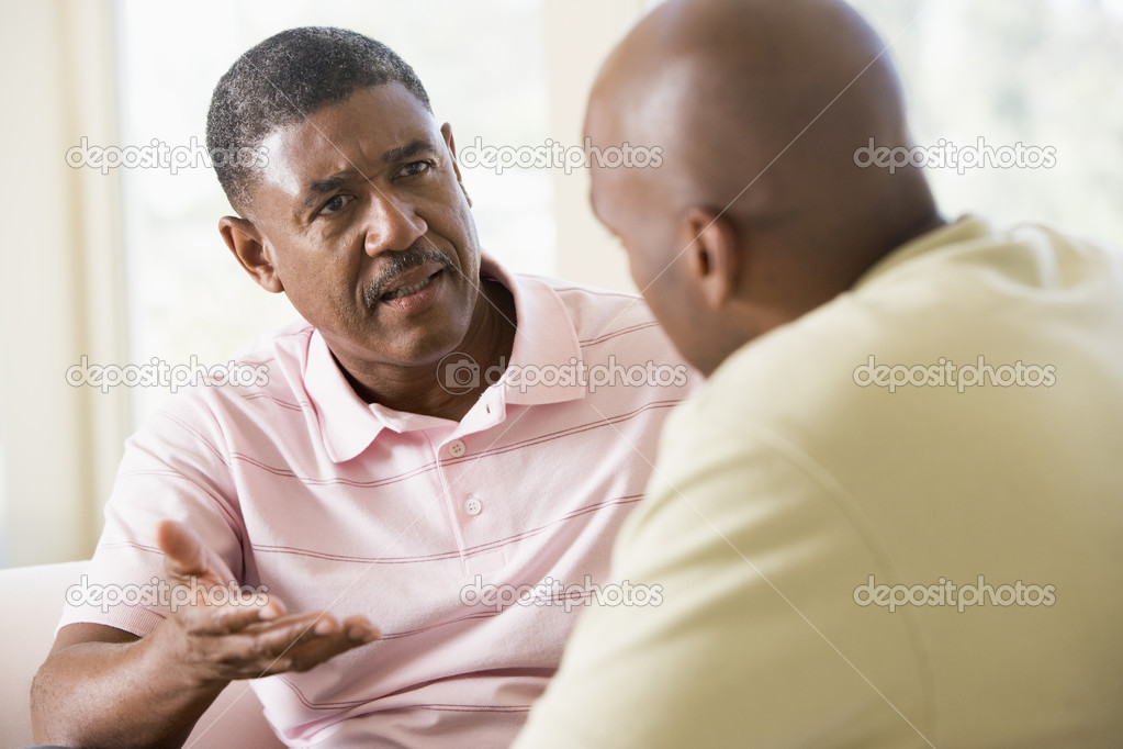 Two men in living room talking — Stock Photo #4764379