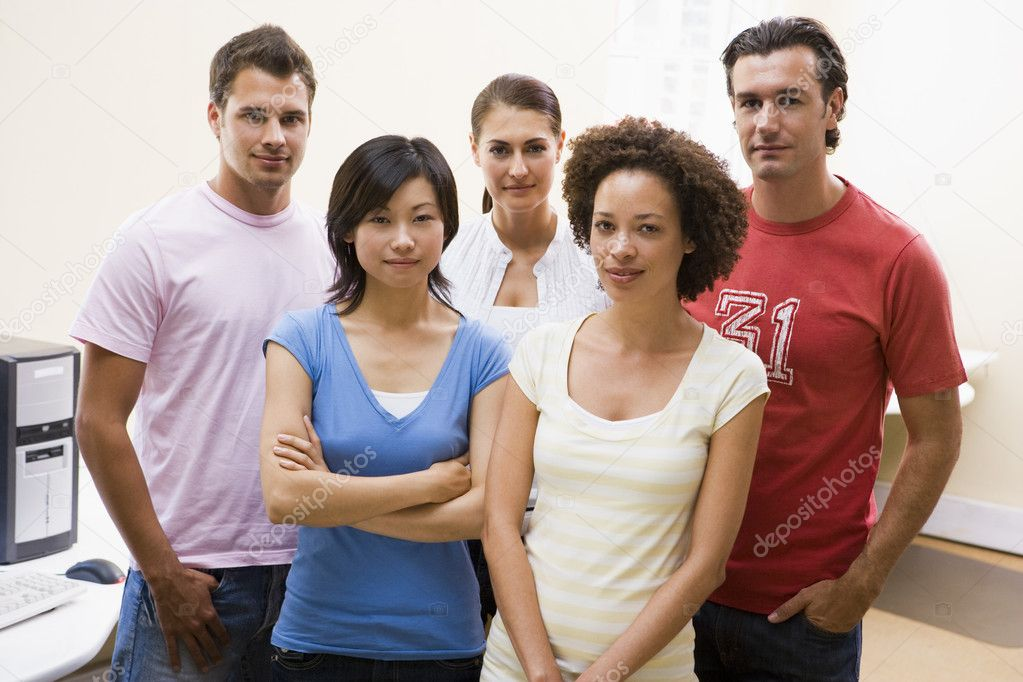 Five standing in computer room — Stock Photo #4767165