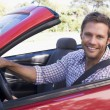 Min convertible car smiling — Stock Photo #4770275