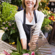 Woman working at flower shop smiling — Foto Stock