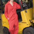 Warehouse worker standing by forklift — Stock Photo #4770433