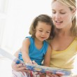 Mother and daughter indoors reading book and smiling — Stock Photo