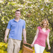 Couple walking outdoors with picnic basket smiling — Stock Photo #4770883
