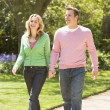 Couple walking on path holding hands smiling — Stock Photo