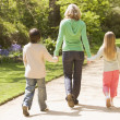 Mother and two young children walking on path holding hands smil — Stock Photo