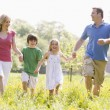 Family walking outdoors holding hands smiling — Stock Photo #4770981