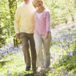 Couple walking outdoors smiling — Stock Photo #4771038