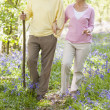 Couple walking outdoors with walking stick smiling — Stock Photo