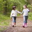Two sisters walking on path holding hands smiling — Stock Photo