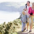 Stock Photo: Family walking on cliffside path holding hands and smiling
